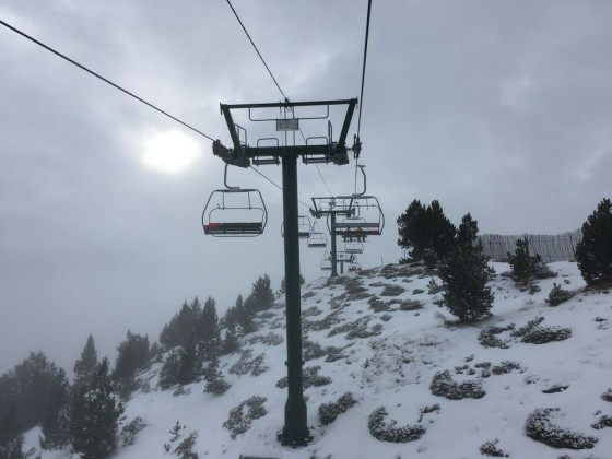 Heading up the chairlift La Botella
