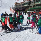 Little skiers getting ready to head to the chairlift