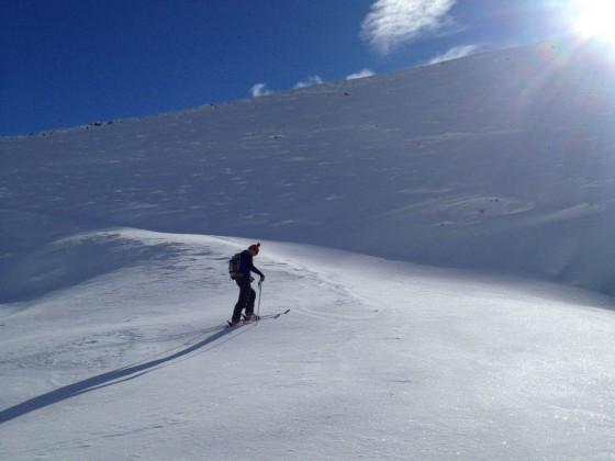 Ski touring up Arinsal mountain