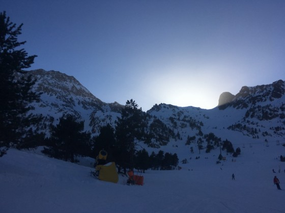 We skied until the sun went down