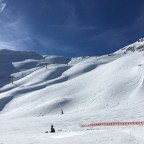 Fresh tracks on the Bony Vaques black run