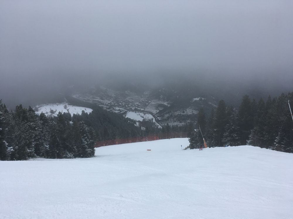 The clouds were looming over the slopes all day long