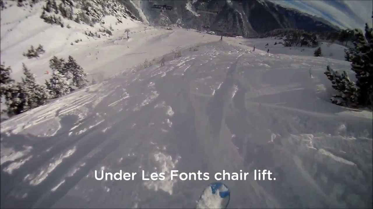 Arinsal. Top to bottom in 10 minutes. Powder day! 19/01/2014